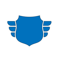 shield blue icon outline shield simple wings vector image
