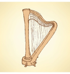 Sketch harp musical instrument vector image