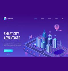 smart city advantage isometric neon landing page vector image