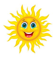smiley joyful sun vector image