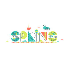 spring flat and geometry design concept vector image
