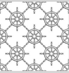 steering wheel seamless pattern outline hand vector image