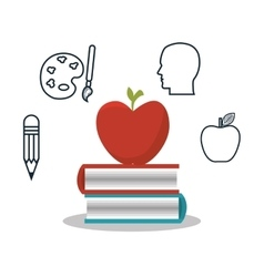 Student apple book school set design vector