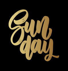sunday lettering phrase on dark background design vector image