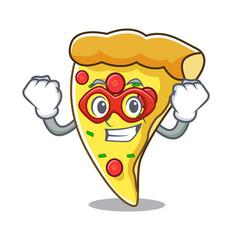 super hero pizza slice character cartoon vector image