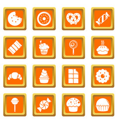 sweets candy cakes icons set orange square vector image