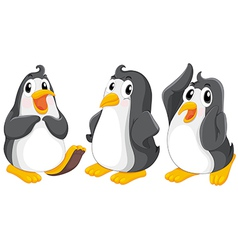 three cute penguins vector image