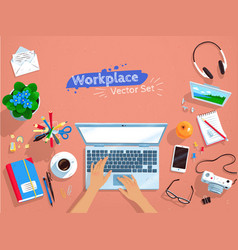 top view set of office workplace vector image