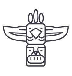 Totemnative american line icon sign vector