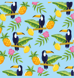 toucan with pineapple and tropical flowers vector image