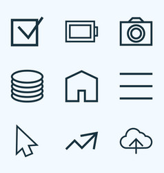 user icons line style set with db check increase vector image