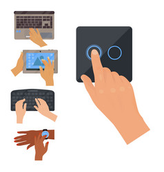 Users hands on keyboard computer touch gestures vector