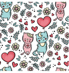 valentine day balloon seamless pattern vector image