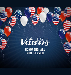 Veterans day background with balloons holiday vector