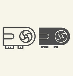Video card line and glyph icon chip vector