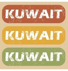 Vintage Kuwait stamp set vector image
