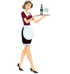 Waitress with tray vector