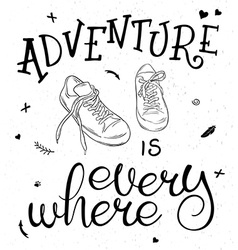 white and black hand lettering quote - adventure vector image