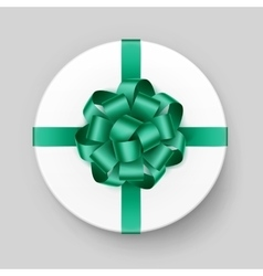 White Box with Green Bow and Ribbon Close up vector