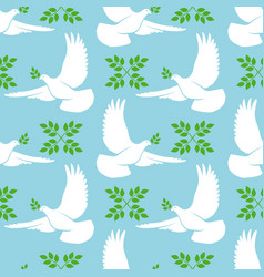 white dove seamless pattern vector image