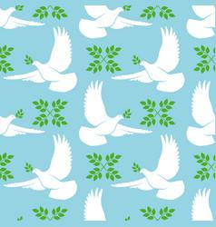 White dove seamless pattern vector
