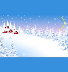 winter landscape village snow forest vector image
