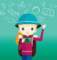 Backpacker girl holding camera vector image