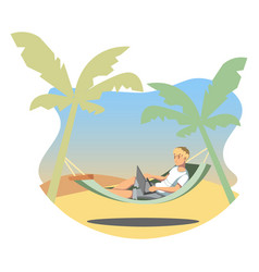 freelance lifestyle man working on tropical vector image vector image