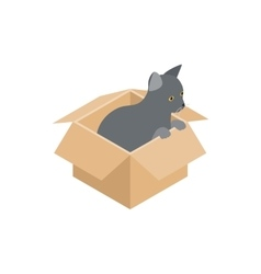 Kitten in box icon isometric 3d style vector image vector image