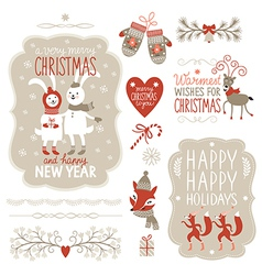Set of Christmas Lettering and graphic elements vector image