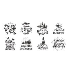 Travel journey set icons handwritten lettering vector