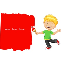 Cartoon little boy painting the wall with red vector image