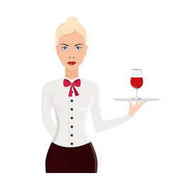 waitress portrait isolated on white background vector image