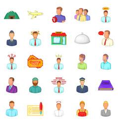 way of life icons set cartoon style vector image
