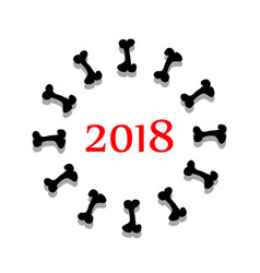 Abstract symbol 2018 year with bone vector