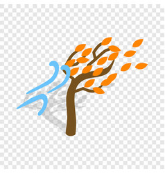 autumn wind and tree isometric icon vector image vector image