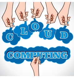 cloud computing word in hand vector image