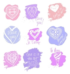 Doodle set of heartsHeart and a declaration of vector image