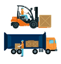 Forklift with Driver Worker Loading Containers vector image