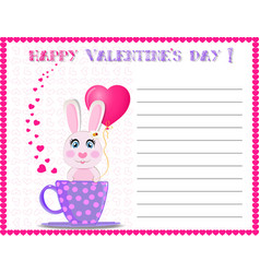happy valentines day greeting card with cute vector image