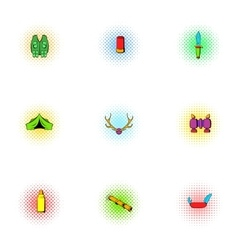 Hike icons set pop-art style vector