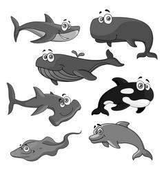 icons of sea ocean fish cartoon animals vector image vector image