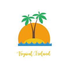 tropical ireland concept palm beach sunset vector image vector image