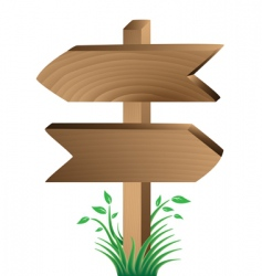 wooden sign grass and leaves vector image vector image