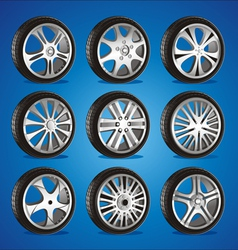 automotive wheel with alloy wheels and low profile vector image vector image