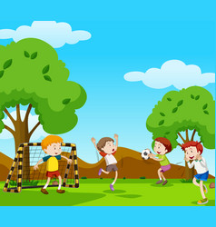 boys playing football in the field vector image