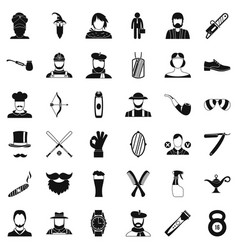 Cutting beard icons set simple style vector