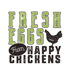 fresh eggs poster design typography green and vector image vector image