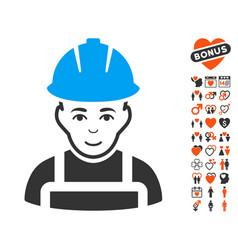 glad worker icon with love bonus vector image vector image