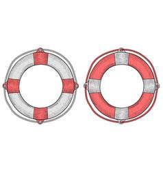 life buoy hand drawn sketch vector image vector image